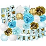 Furuix 子供 誕生日 飾り付け ペーパーポンポン 提灯 ガーランド ブルー ホワイト ゴールド 19点