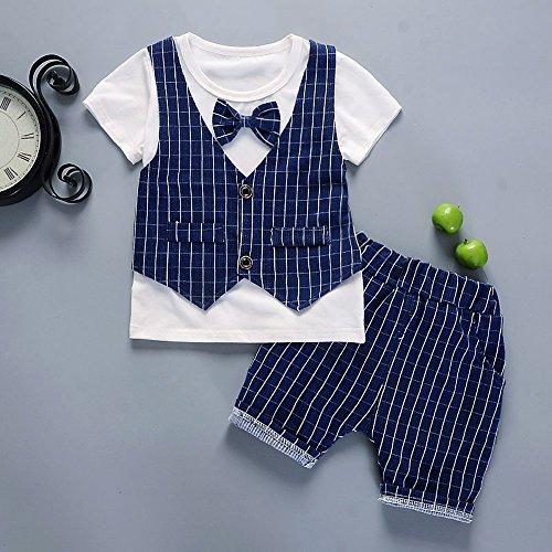 男の子フォーマル キッズ 子供 ボーイズ tシャツ 半袖 上下セットアップ ベビー服 80 90 100 110 四サイズ (100, ネイビー)