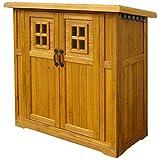 ちょっと大きめの木製物置小屋 カントリー調収納庫 ブラウン 高さ130cm×幅120cm DNS-N0710SBR