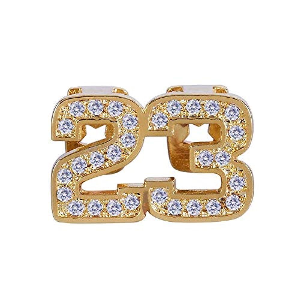 プレミアム間接的不良品个性 男性と女性ユニセックスファッション「デジタル23」マイクロセットジルコンヒップホップ歯Grillzジュエリー飾る銅歯ブレース 交換牙齿装饰 (色 : ゴールド)