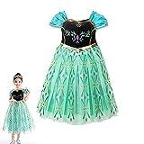 アナと雪の女王 エルサ 風 プリンセス 子供用 ドレス コスチューム 仮装 衣装 女児用 プレゼント(身長 130cm)
