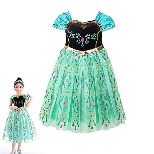 8f038f7453321 アナと雪の女王 エルサ 風 プリンセス 子供用 ドレス コスチューム 仮装 衣装 女児用 プレゼント(身長 120cm)