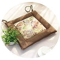 リネンオフィスの畳のクッションマット夏の通気性のシンプルな家庭食卓のクッション,(正方形)軽いコーヒー側+花の表面,直径40*40*厚4cm