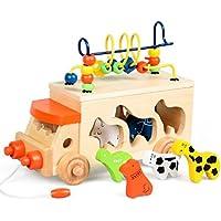 多機能動物ビーズバス木製ブロック形状並べ替えビーズ迷路子供キッズ教育玩具