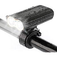 デュアルLED自転車ライト 内蔵バッテリー USB充電式 自転車フロントライト
