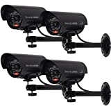 WALI Bullet Dummy Fake Surveillance Security CCTV Dome Camera Indoor Outdoor with one LED Light, Warning Security Alert Sticker Decals (TC-B4), 4 Packs, Black