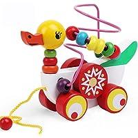 木のおもちゃ 木製カラフルビーズ おもちゃ 指先知育 くるくる遊び