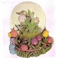 Tulips in a Garden wtihハチドリとA Watering Can – Sculptured樹脂水ボール音楽ボックス5 3 / 4