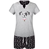 SofiePJ Women's Embroidery Cotton Short Sleeve Pajama Set with Short Pants