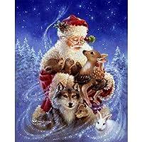 ZDDYX ダイヤモンド塗装全幅クリスマスバニー鹿オオカミDIYダイヤモンド刺繍動物クロスステッチホームデコレーション リビングルームの寝室のアートギフト40X50CM