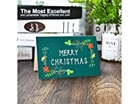 FenBuGu-JP 1 Pcクリスマス挨拶カードクリスマス祝福カード封筒招待状カードギフトカード(ダークグリーン)