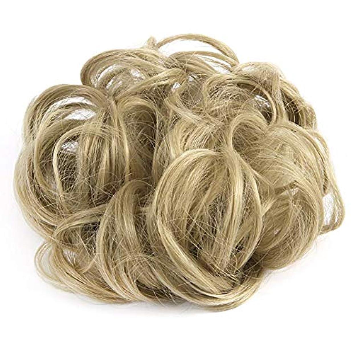 収まる名前を作るキャラバン汚い波状ヘアエクステンションヘアウィッグテープループバンズバンズの女性と少女がウィッグをポニーテール(アッシュブロンド)