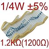 【UMKTOKYO】カーボン抵抗1/4W 1.2kΩ誤差±5% 炭素皮膜抵抗 0.25W  1200Ω(100本入)