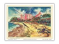 ハワイの有名なワイキキビーチ - ユナイテッドエアラインズ - ビンテージな暦のページ によって作成された ジョセフ・フェーヘル c.1948 - アートポスター - 23cm x 31cm