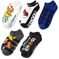 Pokémon Pokemon Big Boy's 5 Pack No Show, Assorted Dark Multi, Sock sizes 9-11 Fits Shoe sizes 4-10.5