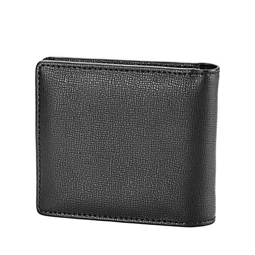 YAUGING 財布 メンズ 二つ折り財布 大容量 高品質 カード沢山収納可能 ボックス型小銭入れ ビジネス プレゼント対応 (ブラック)
