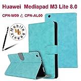 Huawei MediaPad M3 Lite 8.0 ケース 手帳型【Mobile beauty】CPN-W09 と CPN-AL00合皮PUレザー横開きオートスリープ機能 スタンド機能付き カードポケットカバー Huawei M3 lite 8インチ 傷つ防止 耐衝撃 衝撃吸収 全面保護型ケース (ブルー,タッチペン付き)