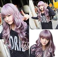 FidgetGear 新しいファッション長い紫色の波状の巻き毛の女性の女性のコスプレロリータ毛髪のかつら+キャップ