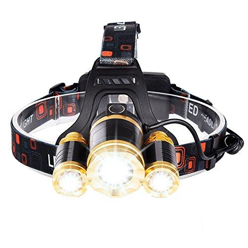 ヘッドライト usb LEDヘッドランプ 充電式 フォーカス調整可能 持続点灯8時間 防災 登山 ライト 夜釣り アウトドア作業 (ゴールド+ブラック)