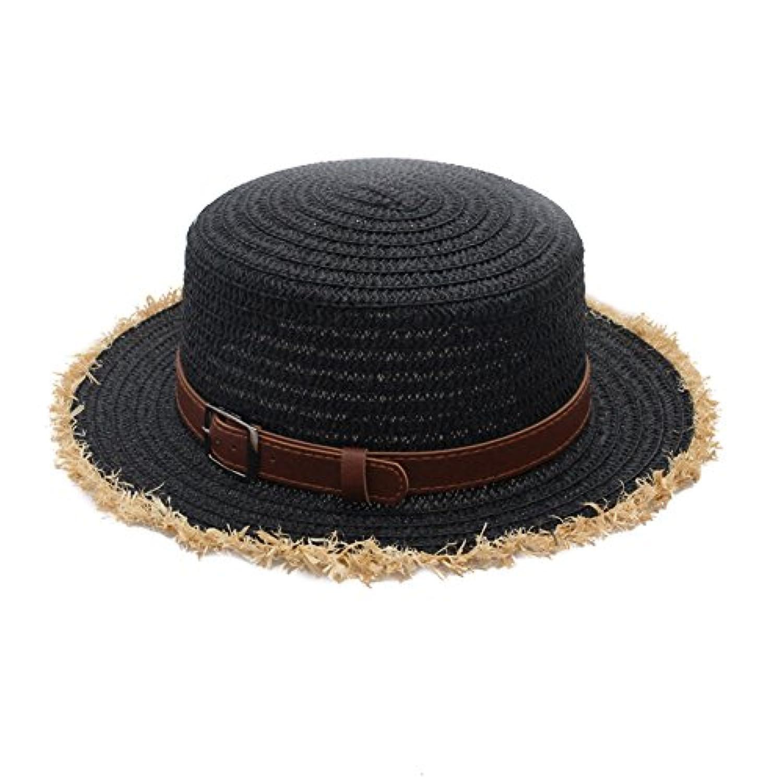 RaiFu 麦わら帽子 夏 かわいい デイジー ヒナギク リベット 日よけ帽子 ハット フラワー ビーチ フリーサイズ