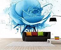 Weaeo 現代の簡潔な絵画ブルーローズ3D壁画の壁紙のリビングルームのベッドルーム3Dヨーロッパの壁画-280X200Cm