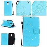 Samsung Galaxy Note 4 ケース OMATENTI 手帳型 財布型 マグネット式 PUレザー スタンド機能 カードホルダ付き 衝撃吸収 耐衝撃 保護カバー (7-ブルー)