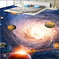Xbwy カスタム滑り止め厚く浴室の壁画壁紙宇宙惑星トイレ寝室の廊下3D床のフロアーリング-150X120Cm