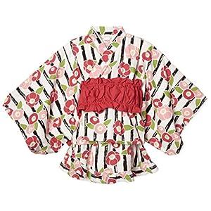 [タキヒヨー] ストライプ花柄浴衣風3点セット ガールズ 342447206 クロ 日本 110 (日本サイズ110 相当)