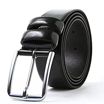 ビジネスベルト メンズ 革 カジュアル レザー - ロング 本革手作り メンズベルト 牛革 スーツ用 男性 レザー ブラック 大きいサイズ 革幅 33mm 全長125cm