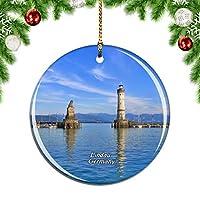 Weekinoドイツボーデン湖灯台リンダウクリスマスデコレーションオーナメントクリスマスツリーペンダントデコレーションシティトラベルお土産コレクション磁器2.85インチ