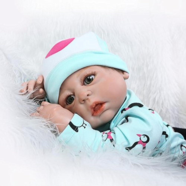 Dollshow解剖学的に正しいダミーガールFullビニールRebornベビーAlive人形アクリル目を開きモヘアRooted 23インチ57 cm