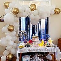 Beaumode バルーンガーランドアーチキット ホワイトとゴールド 109個 ラテックスバルーン ベビーシャワー 婚約パーティー ブライダルシャワー ホワイトウェディングアーチ 誕生日 バチェロレッテパーティー