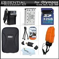 32GBアクセサリーキットfor Olympus Tough tg-320、tg-310、Stylus 3000デジタルカメラは32GB高速SDメモリカード+拡張( 1000mAh )交換li-42bバッテリー+ AC / DC充電器+ハードケース+ストラップFloat + USB SDリーダー+スクリーンプロテクター+ More