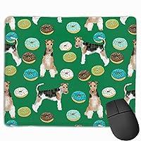ワイヤーフォックステリア犬種ドーナツ男の子グリーンマウスパッド 25 x 30 cm