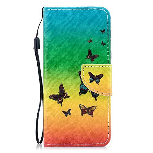OMATENTI Galaxy A8 2018 ケース, 耐衝撃 柔軟 高品質 PUレザー 薄型 簡約風 人気 財布型 ケース カバー, 付き スタンド機能 そして マグネット開閉式 Galaxy A8 2018 用 Case Cover, バタフライ