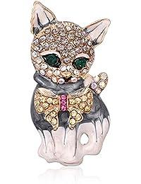 MUZHE 3D 猫 ペット クリスタル エナメル ブローチ ラッキー 猫 秋 冬 コート 帽子 動物 ブローチ ピン ブラック