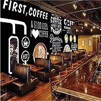 Xxzzdn カスタム壁紙ヨーロッパとアメリカの黒板手描きのコーヒーショップの背景の壁の絵画高度な防水素材-250X175Cm