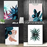 hamulekfae-現代クリエイティブカラフルな葉キャンバスプリントリビングルームアート壁なしフレーム絵画家の装飾 - 2#50 * 70