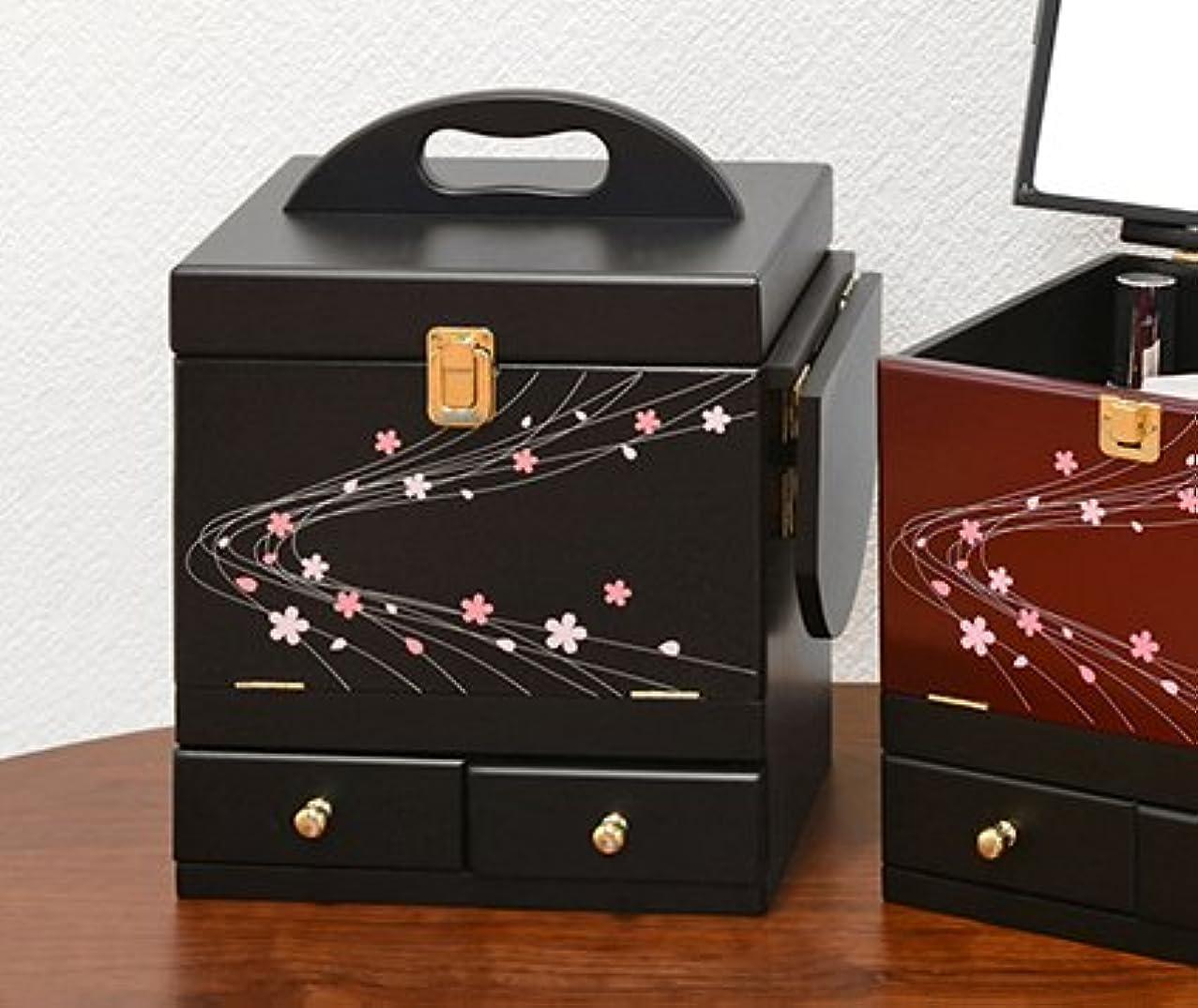 ピュー部財団コスメボックス 化粧ボックス ジュエリーボックス コスメ収納 収納ボックス 化粧台 3面鏡 和風 完成品 折りたたみ式 軽量 ブラック