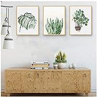 北欧絵画絵キャンバスポスター印刷風景壁アートサボテン装飾水彩植物葉用リビングルームホーム40×60センチ×3(枠なし)
