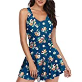 Soft Cloudy Women One Piece Tummy Control Swimsuit Ruched Dot Skirted Swimdress