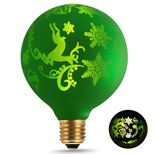RoomClip商品情報 - DORESshop LEDエジソン 装飾電球ビンテージ クリスマス飾リ ガラス ランプ G95 E26 2700K暖かい光 1.4W 一般電球15W形相当 休日ライト 家庭照明器具 ヴィンテージスタイル クリスマスの鹿パターン100ルーメン 全方向広配光タイプ 調光器具非対応 PSE認証済み 1個セット