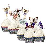 FUNSHOWCASE カップケーキトッパー装飾 ケース セット 誕生日パーティケーキカード ケーキ デコレーション 妖精の庭 48個のトッパーと24個のケース