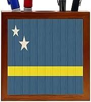 Rikki Knight Curaco Flag on Distressed Wood Design 5-Inch Wooden Tile Pen Holder (RK-PH8701) [並行輸入品]