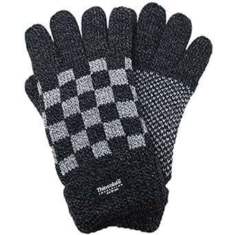 (エクサス)EXAS ブロックチェック柄紳士ニット手袋 チャコールグレーグレー