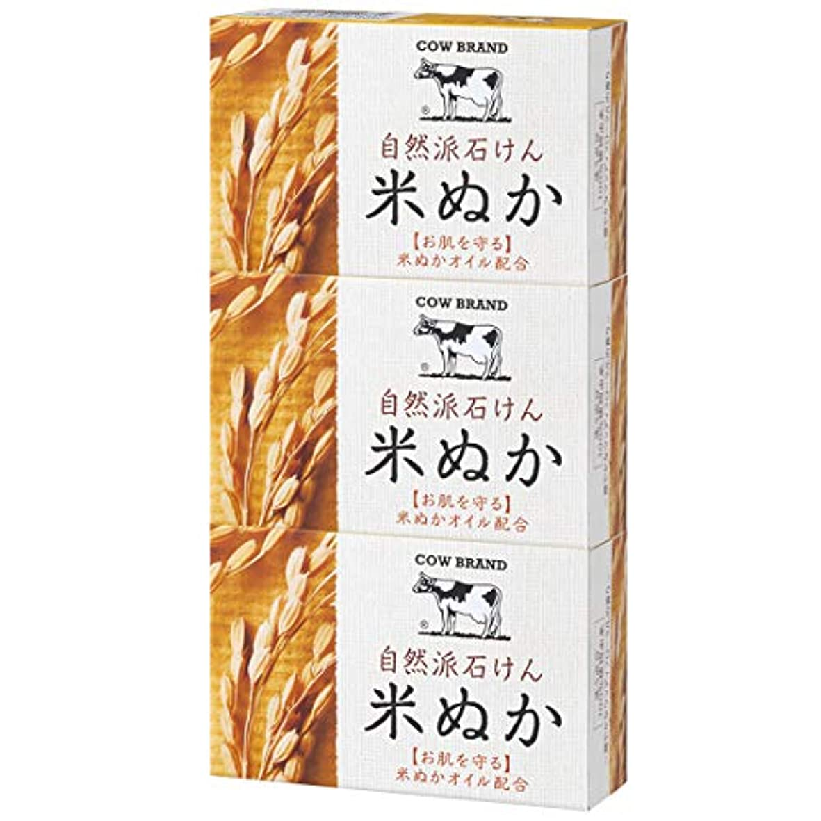 責飾り羽機知に富んだカウブランド 自然派石けん 米ぬか 100g*3個
