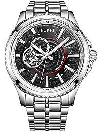 (バオショ)BUREI メンズ 腕時計 夜光機能 ステンレス 機械式時計 ブラック文字盤