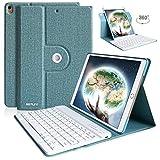 iPad Air 10.5 キーボードケース 2019 iPad Air3 10.5インチ キーボードカバー 360度回転 iPad Pro 10.5 ケース ワイヤレス Bluetooth 着脱式 マートキーボード オートスリープ・スタンド機能 多角度調整 (10.5インチ, ライトブルー)