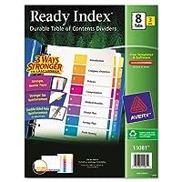 Avery製品–Avery–100%リサイクルインデックス準備ディバイダー、マルチカラー1–8、11x 8–1/ 2、3セット/パック–1パックとして販売–同じGreat Readyインデックス製品Now Madeから完全にRecycled Materials。–Coordinatedシステムの補強の目次ページand Matching印刷済みタブディバイダー。–3つの方法Stronger To Last Longer。–より強く、より重い重量紙は耐久性。–Stronger配筋KeepsタブからTearing。