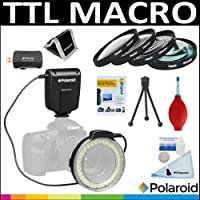 Polaroid TTL Macro LED Ring Flash Light + Polaroid Optics 4 Piece Close Up Filter Set (+1 +2 +4 +10) + Cleaning Accessory Kit For The Canon Digital EOS Rebel T4i (650D) T3 (1100D) T3i (600D) T1i (500D) T2i (550D) XSI (450D) XS (1000D) XTI (400D) XT (350D) 1D C 60D 60Da 50D 40D 30D 20D 10D 5D 1D X 1D 5D Mark 2 5D Mark 3 7D 6D Digital SLR Cameras Which Has Any Of These (18-55mm 55-250mm 75-300mm 50mm 1.4 55-200mm 70-300mm 28mm 85mm f/1.8) Canon Lenses
